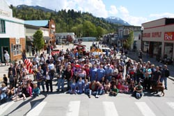 Celebrants gathered in Concrete's town center today to celebrate the community's 100th year. (To request a high-res version of this photo, send an e-mail to editor@concrete-herald.com.)