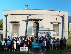 "Almost three dozen citizens from Concrete and its vicinity gathered July 12, 2012, in front of the Superior Portland Cement Company administrative building on Main Street in Concrete, holding signs that demonstrated their feelings about the old landmark: ""This Place Matters."""